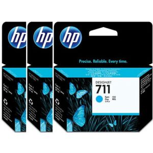Pack 3 cartuchos tinta HP 711 cian 29ml