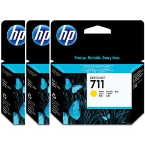 Pack 3 cartuchos tinta HP 711 amarillo 29ml